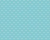 20% OFF White Swiss Dots on Aqua - 1/2 Yard