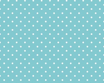 20% OFF White Swiss Dots on Aqua - 1/2 Yard