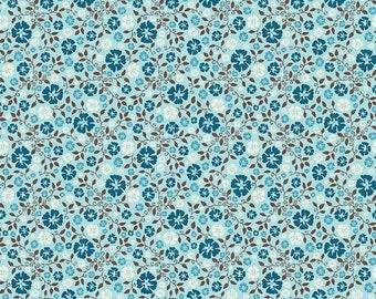 SALE Roundup Cowboy Floral Blue - 1/2 Yard