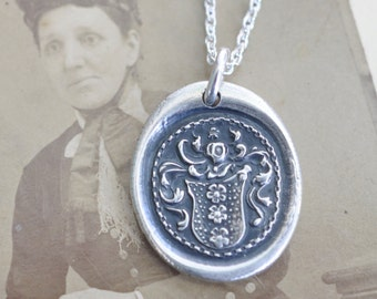 three flowers crest wax seal necklace pendant … hope, joy, imagination - silver antique family crest wax seal jewelry