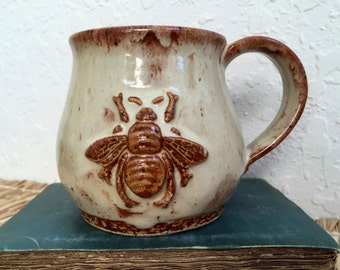 Ceramic Bee Coffee Cup - Ceramic Bee Mug - Honey Bee with Flowers - Wheel Thrown Stoneware