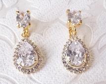 Halo Bridal Clipon Earrings with Swarovski Crystal 1920s Wedding Chandeliers -  Clip On Rhinestone Glam Metallic Gold Prom Jewelry