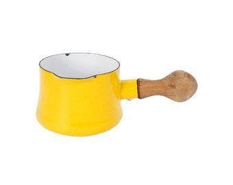 Vintage 60s DANSK Pourer - Dansk Enamel - IHQ - Dansk Yellow -  Sauce Pan - Gravy Boat - Butter Warmer - France - Kobenstyle - Danish Modern