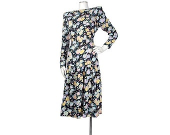 SALE Vintage 80s Dress - 80s Drop Waist Dress - Secretary Dress - Backless Dress - Cutout Dress - Black Pink Purple - Rayon Floral Dress - 9