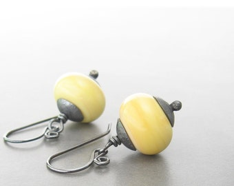 yellow dangle earrings, lampwork earrings, oxidized silver earrings, metalwork earrings, rustic yellow earrings
