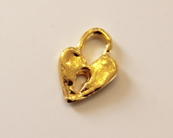 Charm Heart Lock Artisan Handcrafted Gold Plated    /CH107