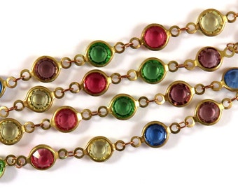 2ft Chain Unplated Brass Designer Chain Multi-Color Transparent Glass Flat Beaded Links 7mm - 24 inch - STR9095CH-AS24