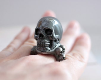 Skull ring. Black sterling silver ring with Hematites Skull. Silver Skull ring, Black skull ring, gothic style, hematites ring, statement.