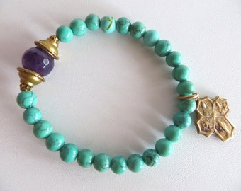 Turquoise and Amethyst Energy Bracelet, Gemstone Bracelet, Gift For Mom