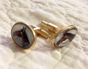 Krementz Vintage Gold Filled Horse Head Equestrian Cuff Links