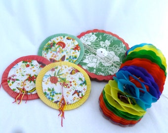 "Chinese Paper Lanterns, Set of 5 Lanterns, 3 1/2"", 5"" and 6"", colorful party lanterns, party decoration, birthday party decor, lanterns"
