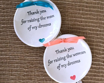Thank You for Raising Mother of the Groom Gift, Mother of the Bride Gift,Wedding Keepsake Ring Dish, Parents Wedding Gift,Personalized Gift
