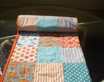 Baby quilt,fox baby quilt,baby boy bedding,baby girl quilt,rustic,woodland,crib,lap,fox,orange,grey,teal,aqua,chevron,toddler-Fox Whimsy