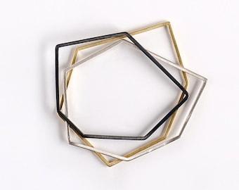 Thin Bangle Set, Stacking Bangle Bracelet, Mixed Metal Bangle, Geometric Bangle Bracelet Set, Oxidized Bangle, Silver Bangle, Gold Bangle