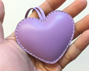Small size - Love Heart cowhide leather charm ( Light Purple )