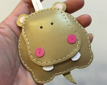 Big size - Hugo the Hippo cowhide leather charm ( Gold )