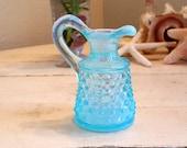 Small Fenton Aqua Blue Hobnail - Art Glass Vintage Aqua Opalescent Cruet Blue Pitcher