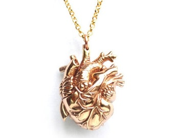 Gold Anatomical Heart Pendant