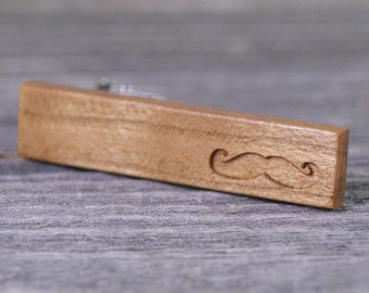 Mustache Tie Clip: Wood tie bar with engraved manly mustache