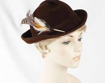 Vintage 1970s Hat Brown Feather Derby by Betmar Sz 22