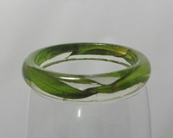 OOAK Nature Resin Bracelet with Real Willow Leaves  Bangle Jewelry Leaf