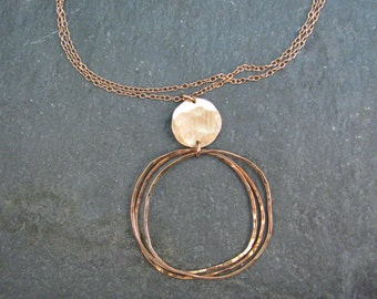 Long Bronze Necklace with Organic Circles and Brushed Link - Hammered Bronze Metal 30 inch Necklace