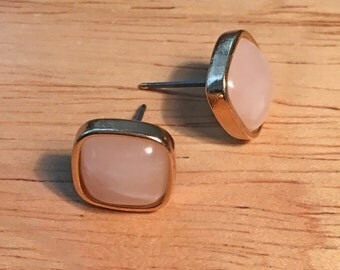Light Pink, Gold Square Post Earrings