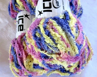 50% off - worsted weight yarn, blue yellow pink pastel shades, blanket yarn  17054