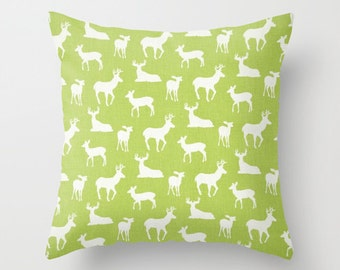 Deer Pillow Deer Pillows Green Pillow Christmas Cushion Covers Camping Decor Woodland Pillow