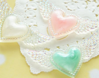 6 pcs Pastel Heart with AB Wings Cabochon (26mm57mm) DR552