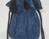 Anti Tarnish Jewelry Bag Pouch in blue embroidered microfiber