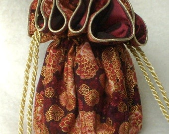 Jewelry Pouch, Travel Organizer in beautiful deep red and  gold