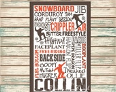 Snowboard Digital Print Typography Personalized