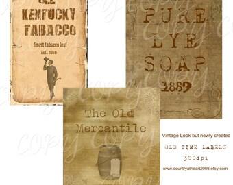 Instant Download -  Old Time Labels   -  Printable Digital Collage Sheet - Digital Download