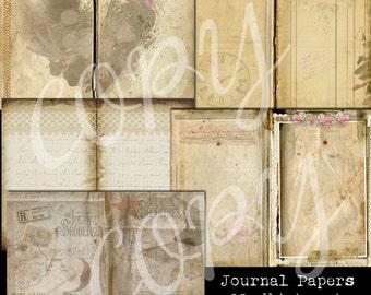 5 Sheet  Paper Pack  - Journal Paper Set -  Printable Digital Collage Sheet - Digital Download Scrapbooking Kit