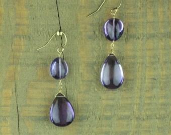 Smooth Polished Purple Amethyst Teardrop Earrings in Gold