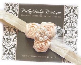 Christening  Headband - Baptism Cream Flower Lace Headband - Baby Girl Blessing Headband .... Ivory Cream Feather Headband