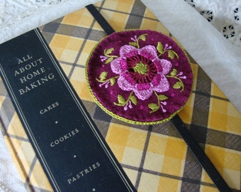 Plum and Pink Floral Wool Embroidered Bookmark