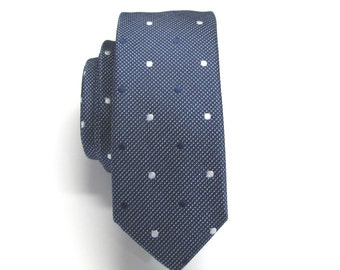 Mens Ties Blue and White Polka Dot Skinny Necktie