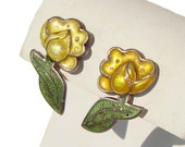 Vintage Margot de Taxco Earrings #5871 Yellow Enamel & Sterling Flowers BOOK PIECE