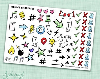 Comic Geek Planner Stickers and Washi Tape Set
