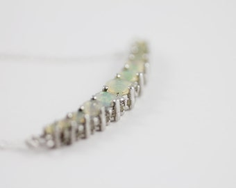 M O O N T I D E  - Opal and white diamond sterling arc necklace