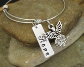 25% OFF SALE Use Coupon Code BEMERRY25 Stamped Expandable Bangle Inspirational Hope Angel