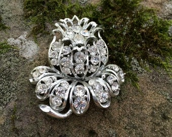 Unique Vintage Silvertone Rhinestone Flower Brooch Pin Winter Holiday Christmas Party Wedding Bridal Mother of the Bride
