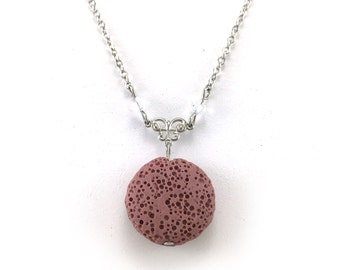 Pink Lava Stone Necklace, Essential Oil Jewelry, Aromatherapy Necklace, Lava Bead Jewelry, Lava Diffuser Necklace, Swarovski Crystals