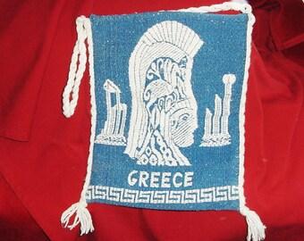 Vintage 70s Athens Greece Blue White Spun Rayon Tote Bag