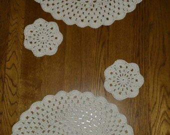 Crochet Placemats and Coasters set of 2 Off White