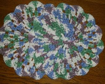 Crochet Round Dishcloth/Trivet set of 2 in Freshly Pressed