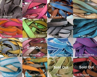 Hand Dyed Silk Ribbons, HappyGoLicky Silk Wrap Bracelet Replacement Crinkle Ribbons, Blue, Brown, Purple, Pink,Yellow, Red, Black, Turquoise