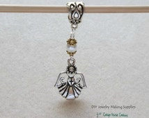 Angel Holding Cross in a Heart Large Hole Euro Dangle for Charm Bracelet 3pcs.